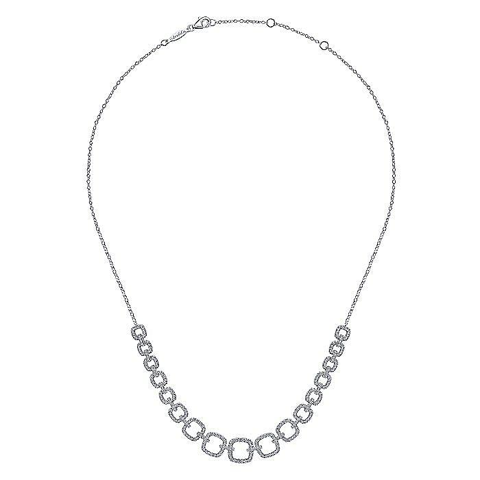 14K White Gold Diamond Pavé Graduating Square Link Necklace