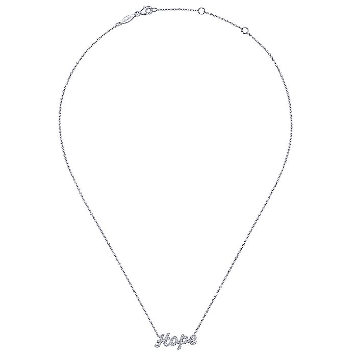 14K White Gold Diamond Pavé Hope Necklace
