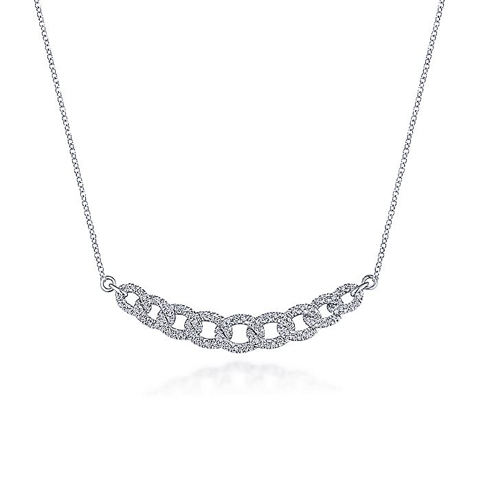 14K White Gold Diamond Pavé Interlocking Links Necklace
