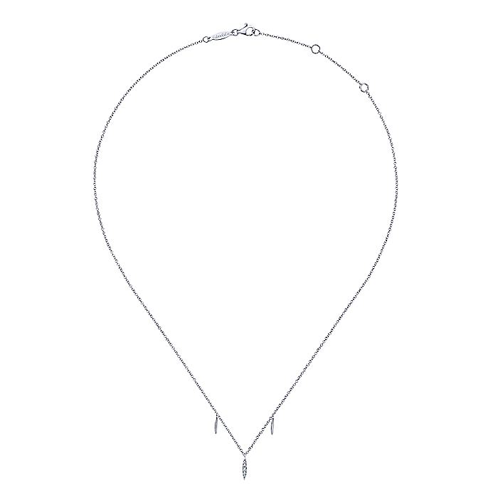 14K White Gold Diamond Pavé Spear Drop Necklace