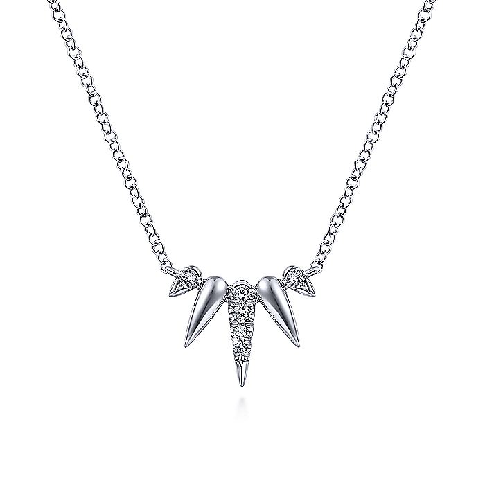 14K White Gold Diamond Pavé Spike Fan Necklace