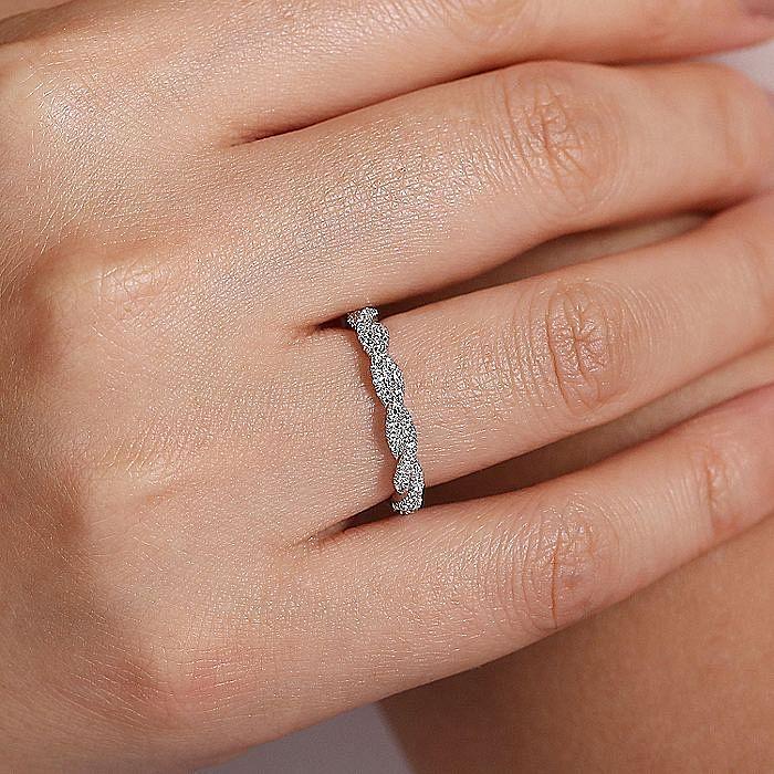 14K White Gold Diamond Pavé Stackable Ring
