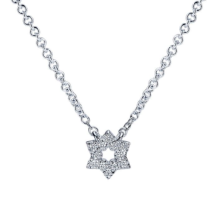 14K White Gold Diamond Pavé Star of David Necklace
