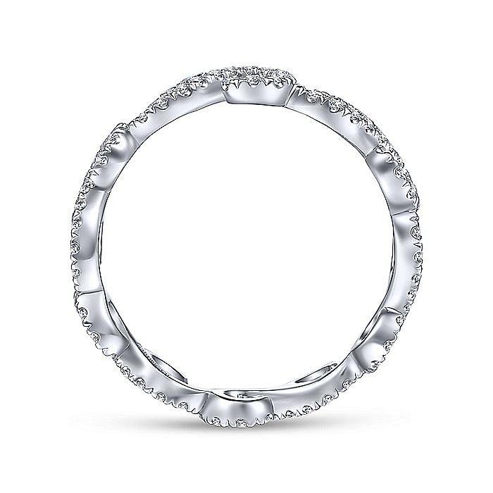 14K White Gold Diamond Pavé Swirling Eternity Ring