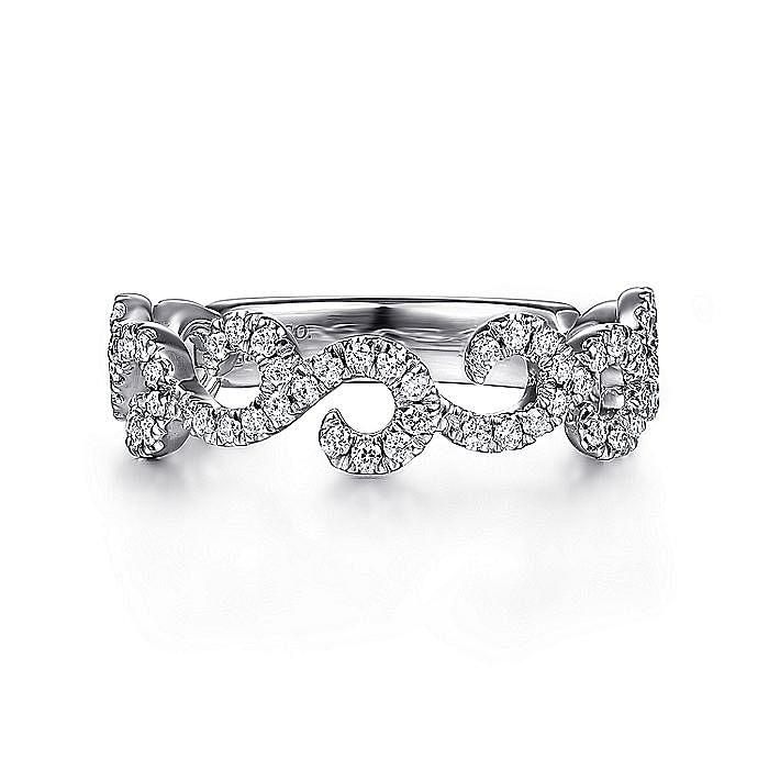 14K White Gold Diamond Pavé Swirling Ring