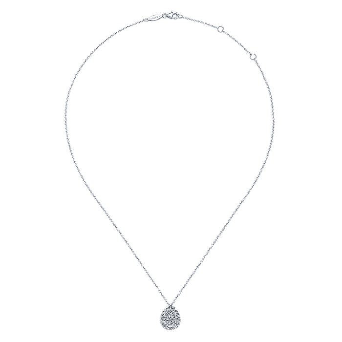 14K White Gold Diamond Pavé Teardrop Pendant Necklace