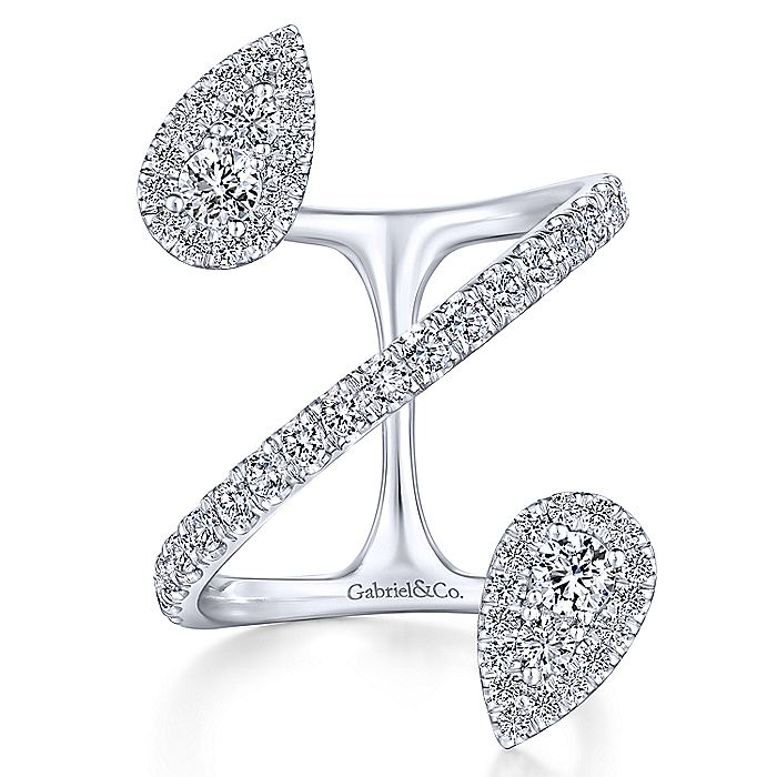 14K White Gold Diamond Pavé Teardrops Wrap Ring