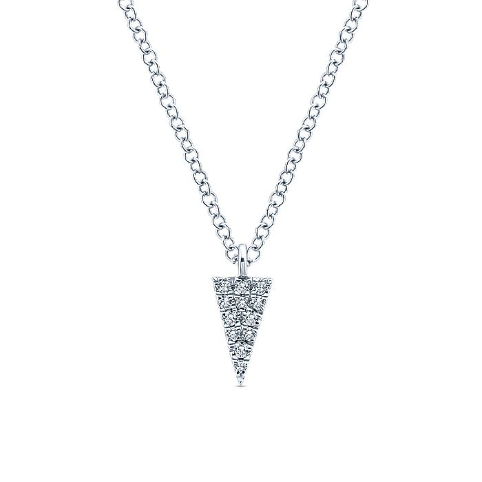 14K White Gold Diamond Pavé Triangle Pendant Necklace
