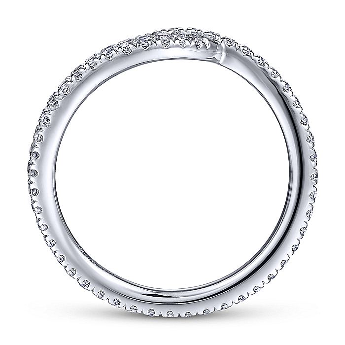 14K White Gold Diamond Pavé Twist Ring