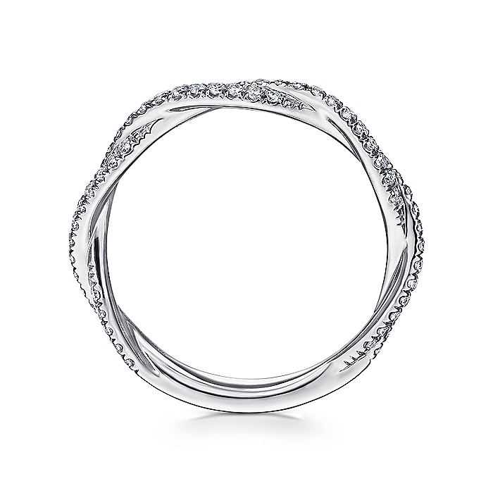 14K White Gold Diamond Pavé Twisted Stackable Band