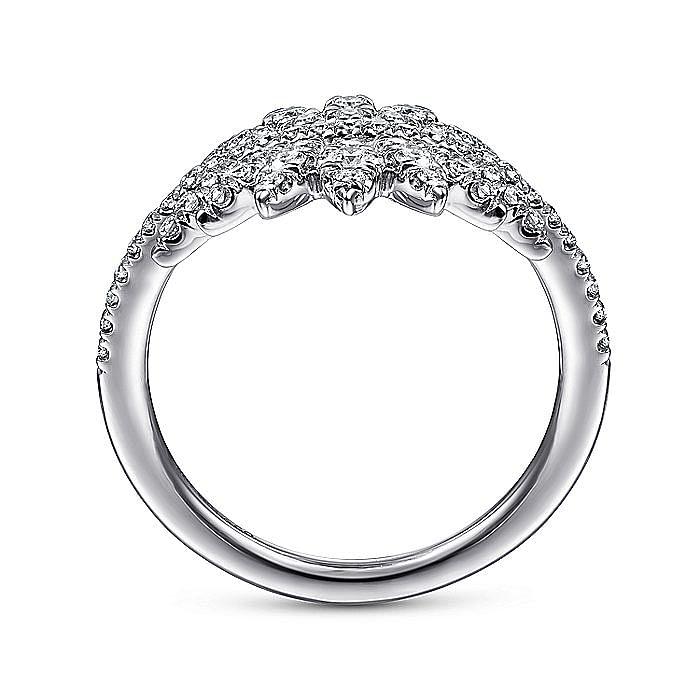 14K White Gold Diamond Pave Flower Burst Ring