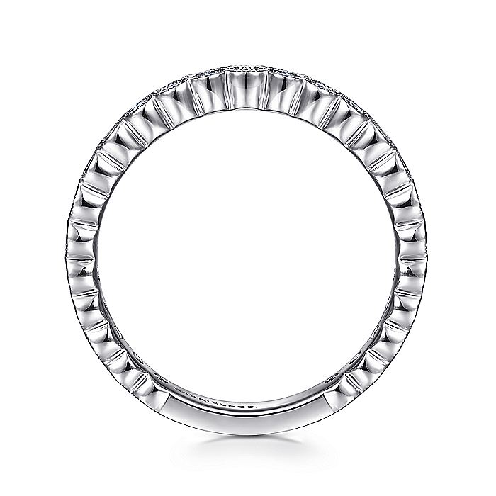 14K White Gold Diamond Ring with Millgrain Bezel