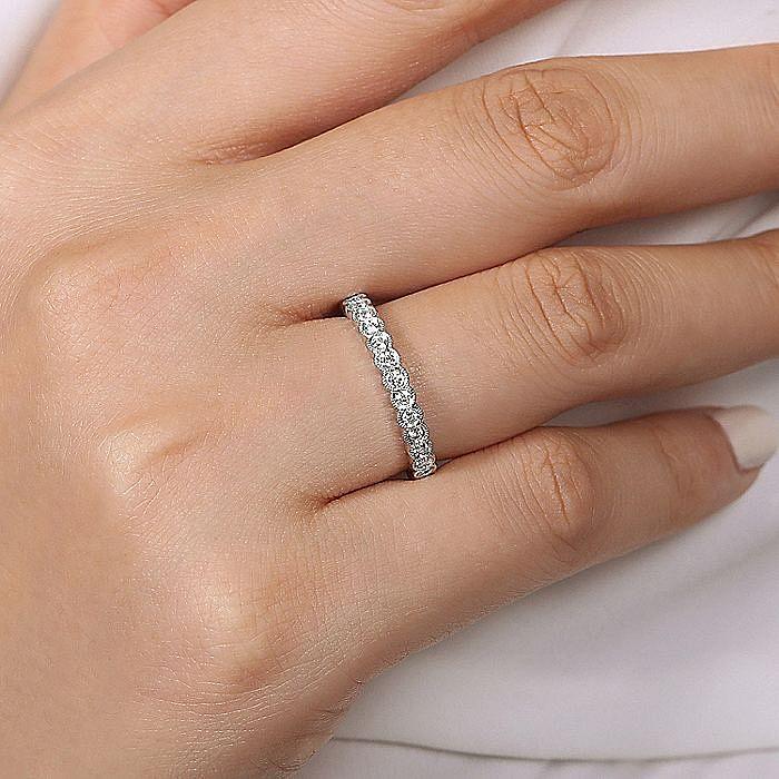 14K White Gold Diamond Ring with Millgrain Bezel