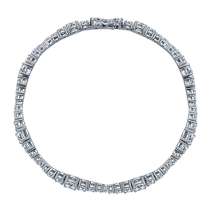 14K White Gold Diamond Rondelles Tennis Bracelet