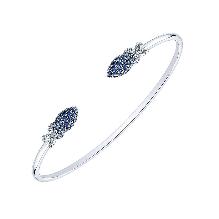 14K White Gold Diamond Sapphire Bangle