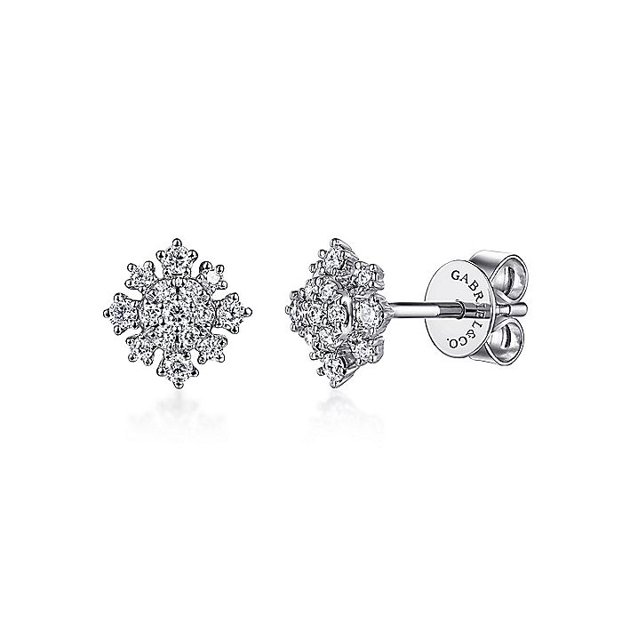 14K White Gold Diamond Snowflake Stud Earrings