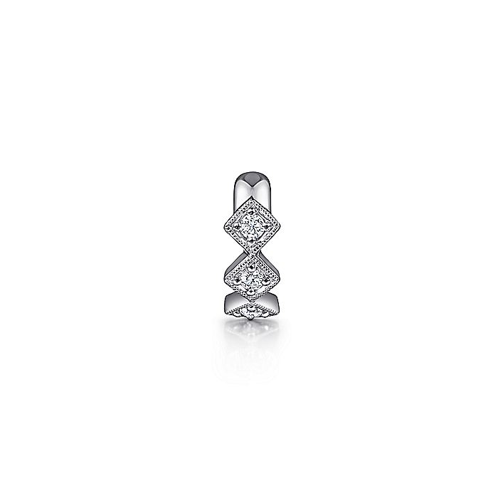 14K White Gold Diamond Square Earcuff Earring