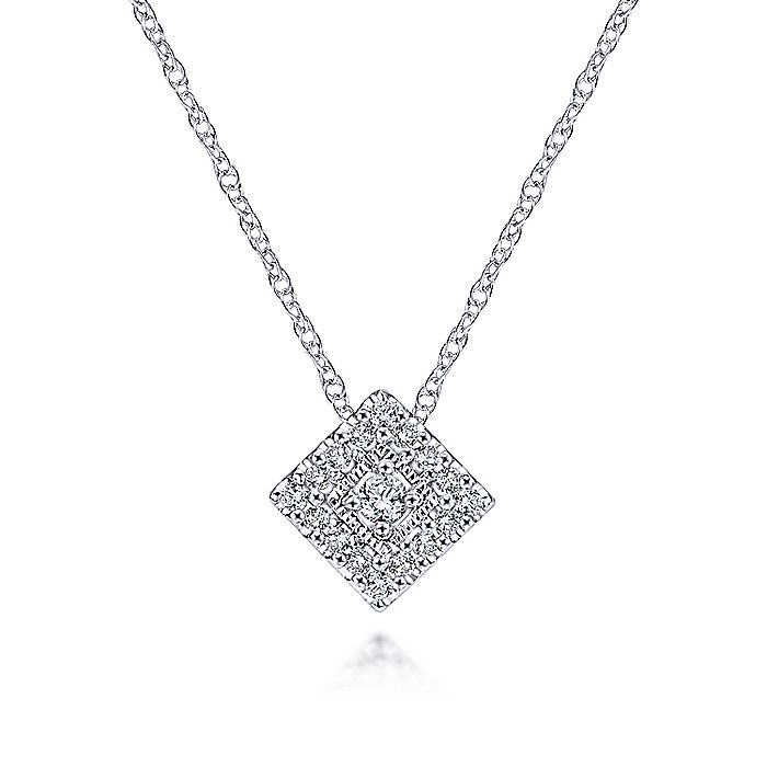 14K White Gold Diamond Square Pendant Necklace