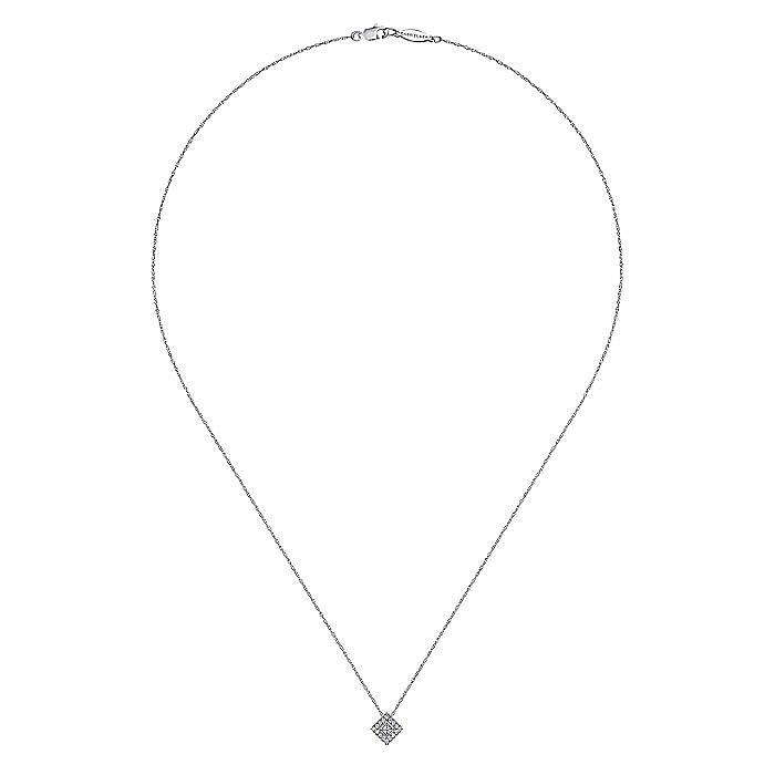 14K White Gold Diamond Square Pendant Necklace