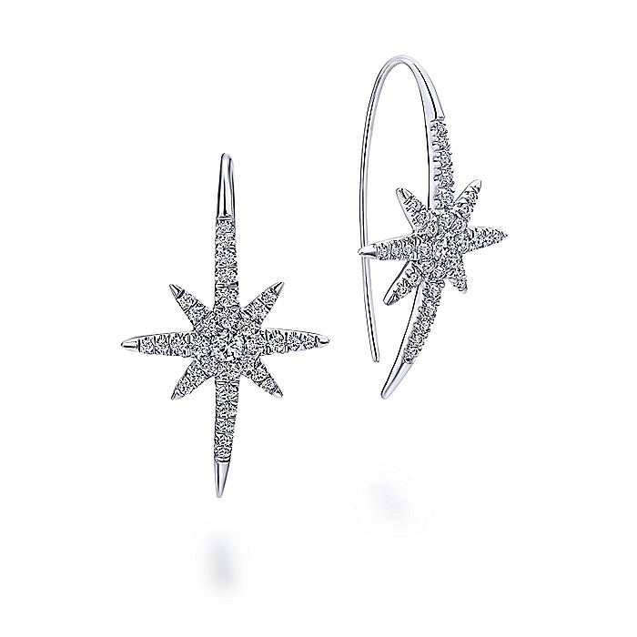 14K White Gold Diamond Star Drop Earrings