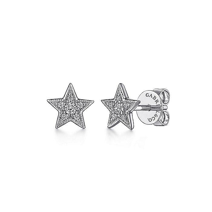 14K White Gold Diamond Star Stud Earrings