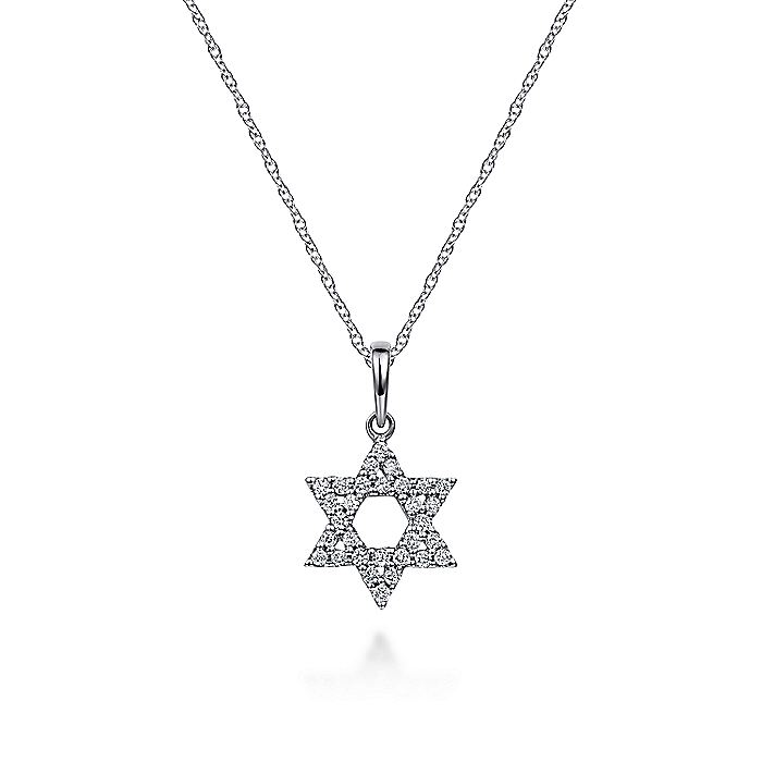 14K White Gold Diamond Star of David Pendant Necklace