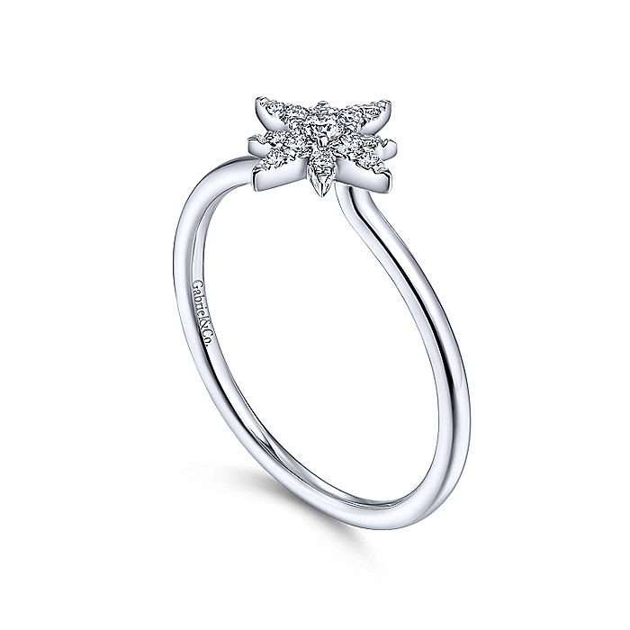 14K White Gold Diamond Starburst Ring