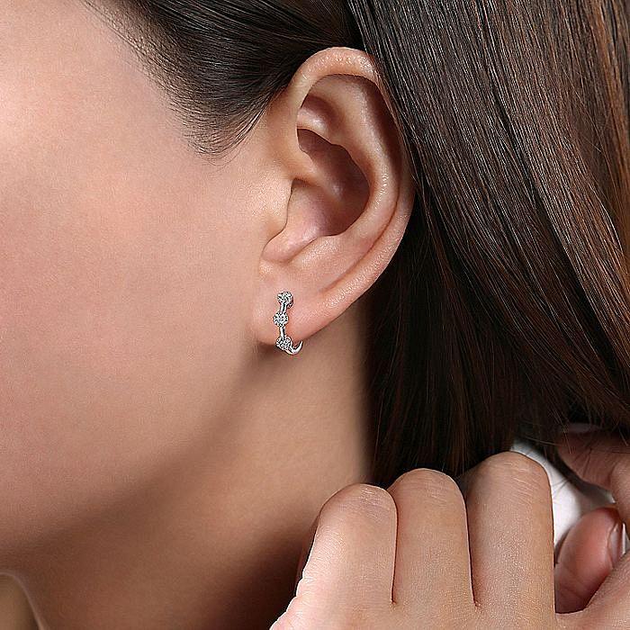 14K White Gold Diamond Station Huggie Earrings