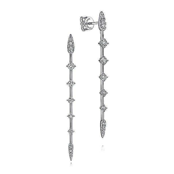 14K White Gold Diamond Station Long Bar Stud Earrings