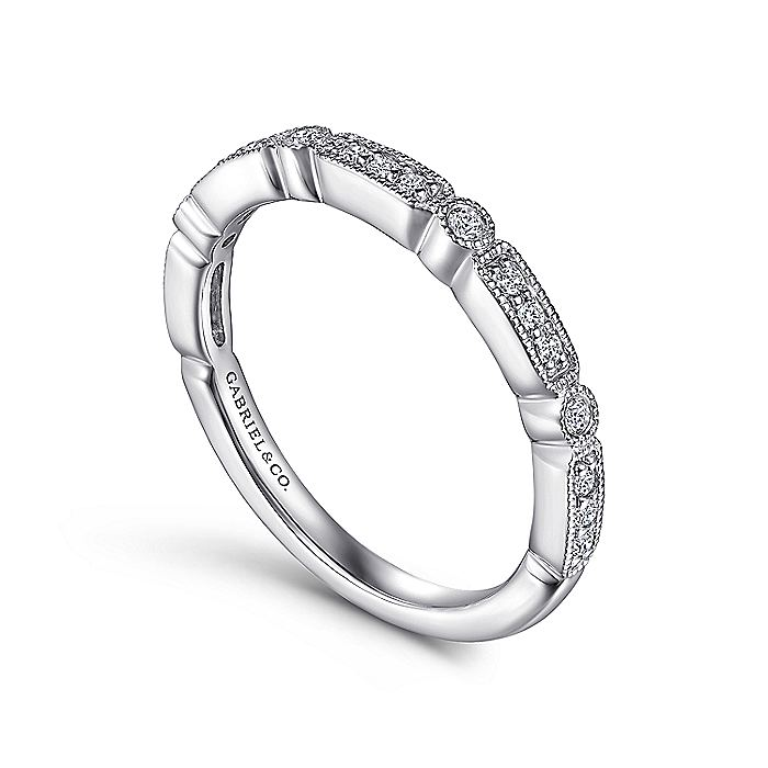 14K White Gold Diamond Station Stackable Anniversary Band with Millgrain