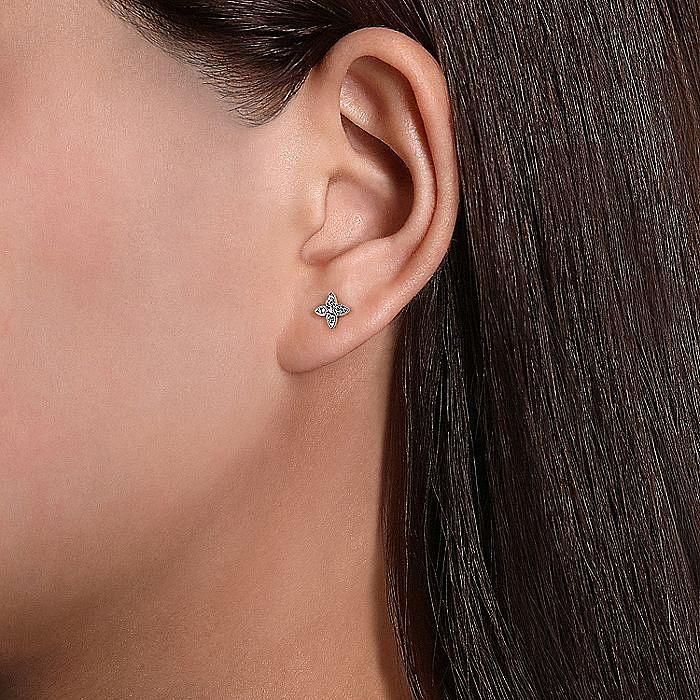 14K White Gold Diamond Stud Single Earring
