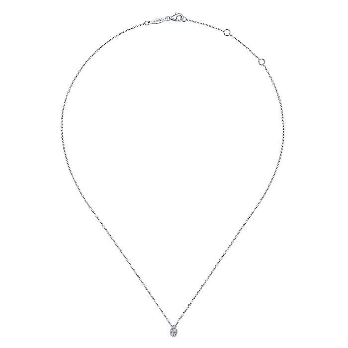 14K White Gold Diamond Teardrop Pendant Necklace