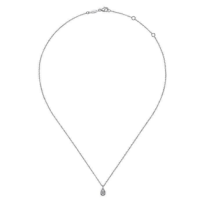 14K White Gold Diamond Teardrop Pendant Necklace