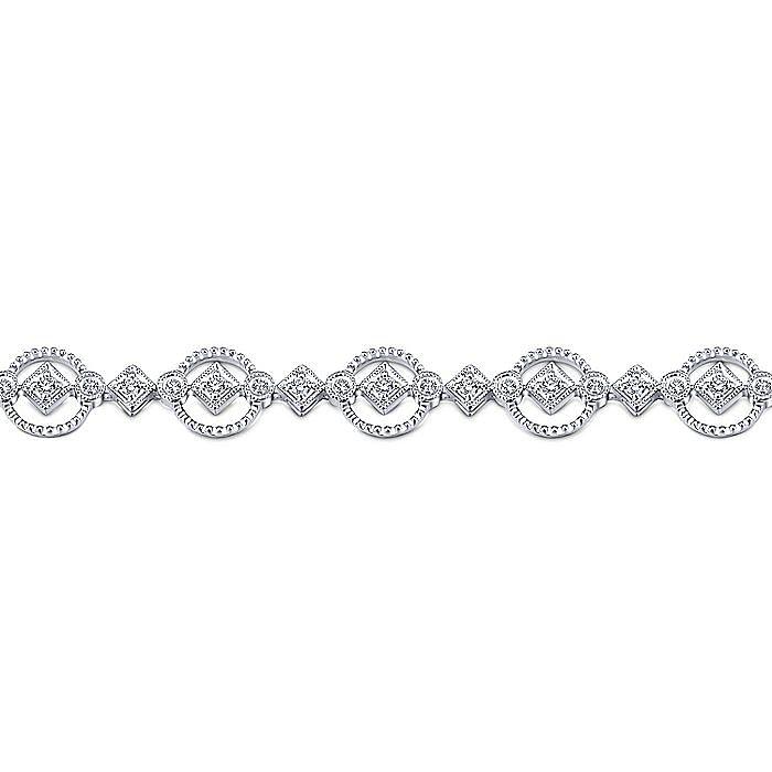 14K White Gold Diamond Tennis Bracelet with Circular Frames
