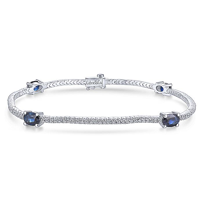 14K White Gold Diamond Tennis Bracelet with Oval Sapphire Stations