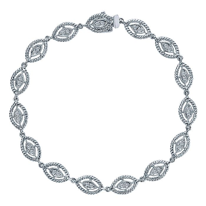14K White Gold Diamond Tennis Bracelet with Twisted Rope Frame