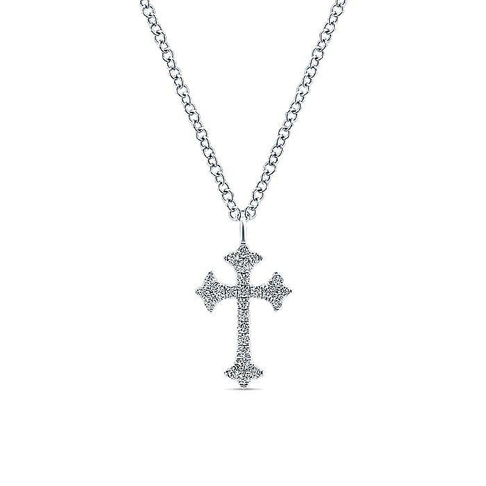 14K White Gold Diamond Trefoil Cross Necklace