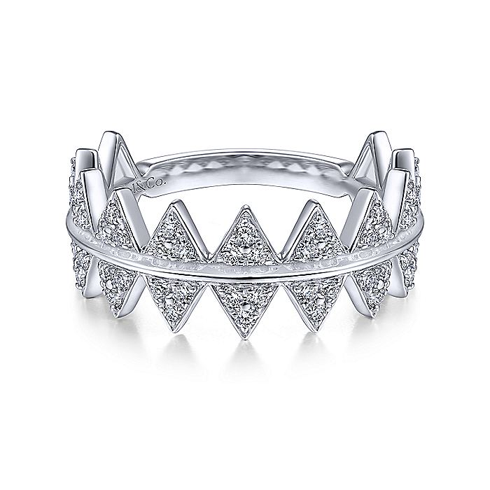 14K White Gold Diamond Triangle Stations Stackable Ring