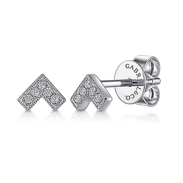 14K White Gold Diamond V Shape Stud Earrings