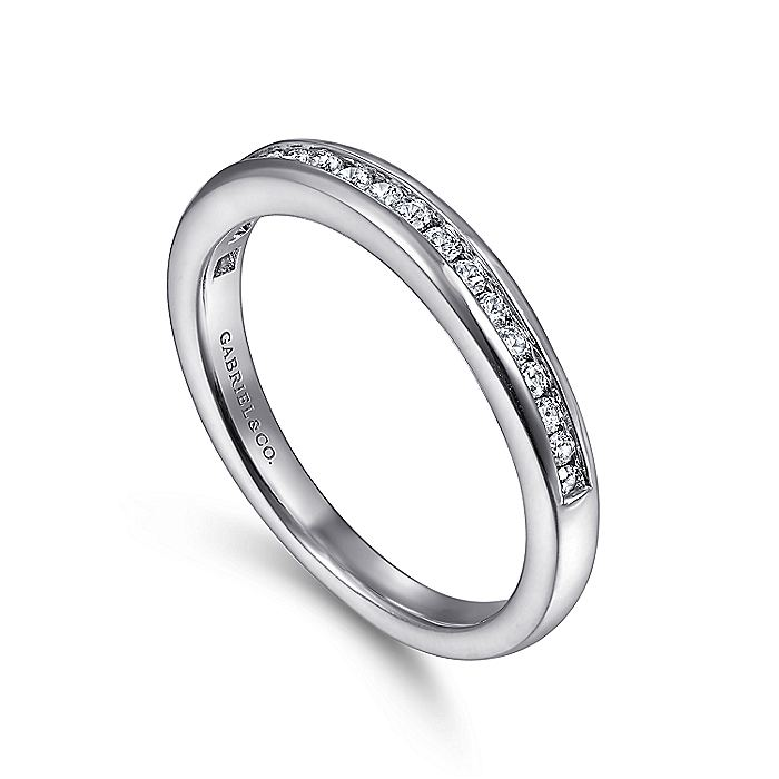 14K White Gold Diamond Wedding Band