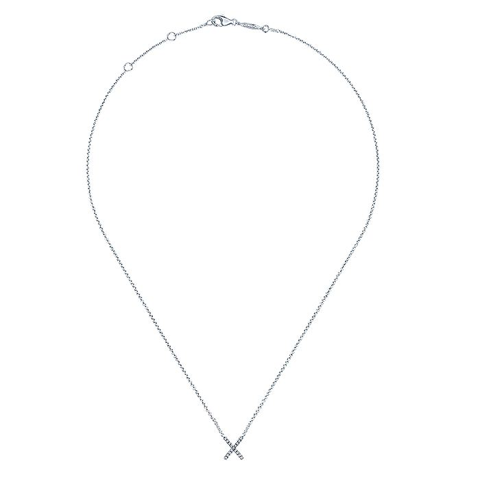 14K White Gold Diamond X Pendant Necklace