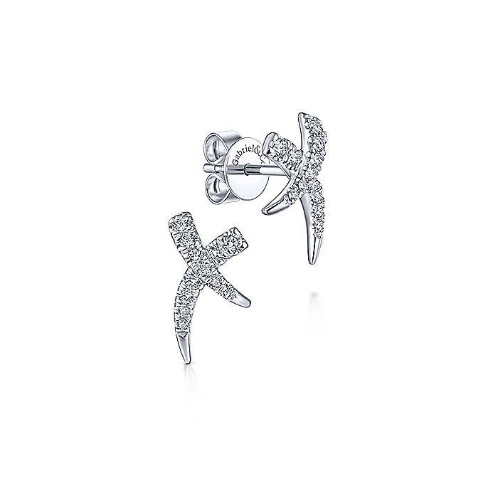 14K White Gold Diamond X Stud Earrings