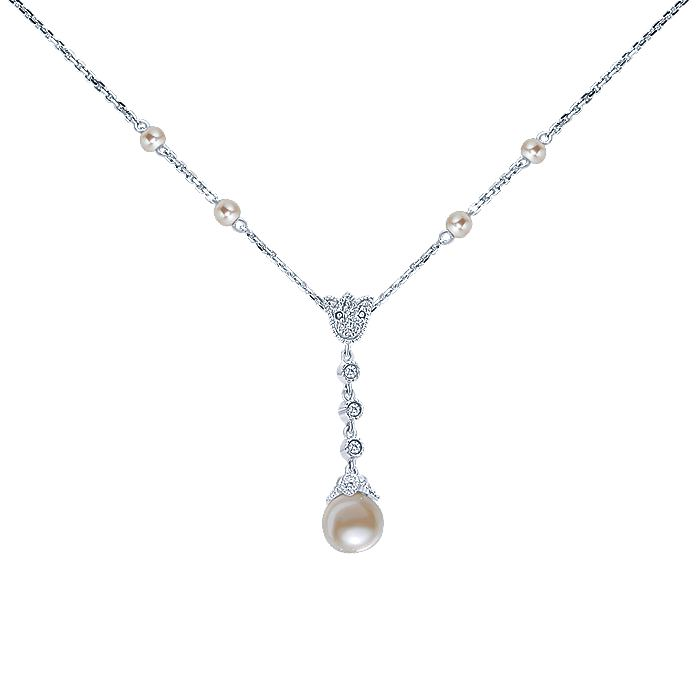 14K White Gold Diamond and Cultured Pearl Y Knot Necklace