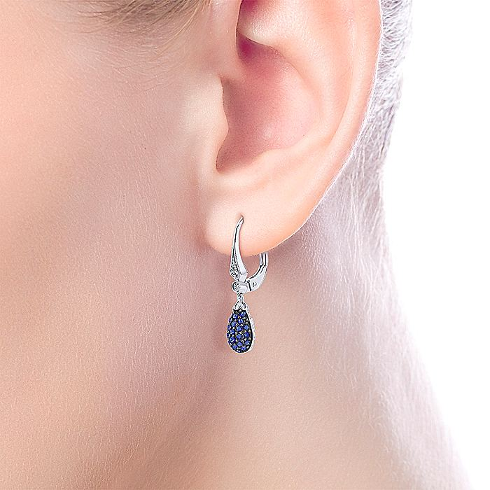 14K White Gold Diamond and Sapphire Cluster Drop Earrings