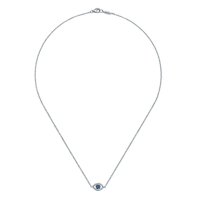 14K White Gold Diamond and Sapphire Evil Eye Pendant Necklace