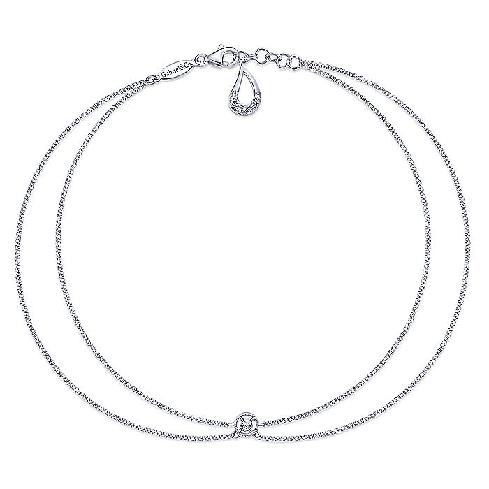 14K White Gold Double Chain Ankle Bracelet with Diamond Center
