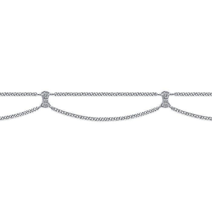 14K White Gold Double Chain Ankle Bracelet with Diamond Stations
