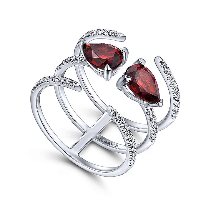 14K White Gold Double Garnet Teardrop Three Row Diamond Ring