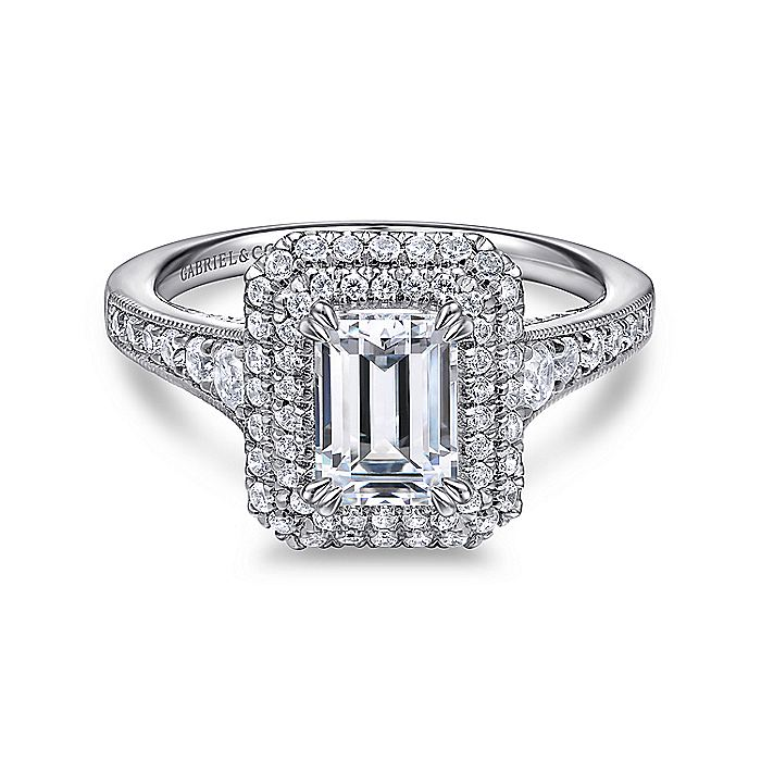 14K White Gold Double Halo Emerald Cut Diamond Engagement Ring