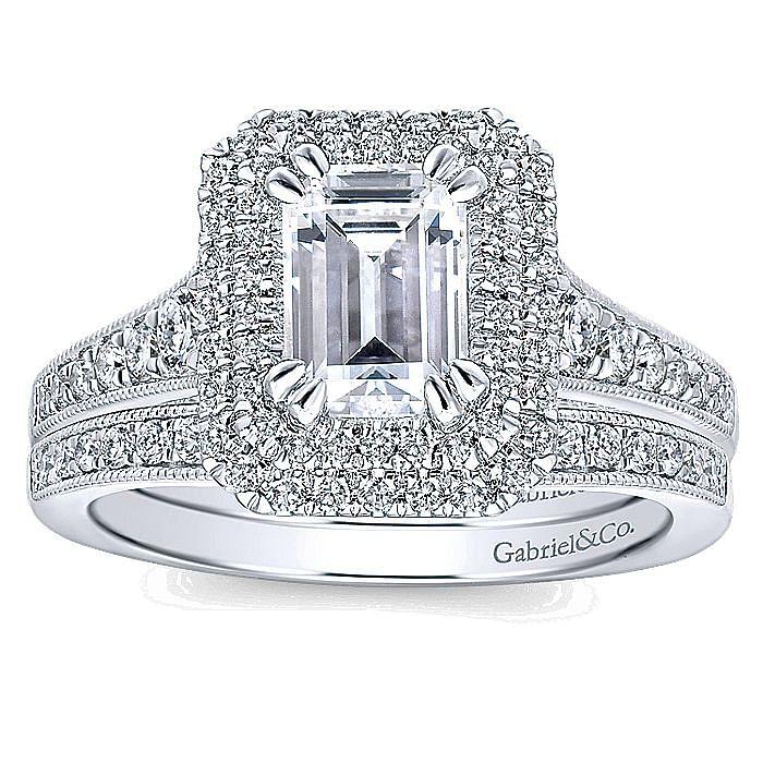 14K White Gold Double Halo Emerald Cut Diamond Engagement Ring